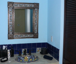 mexican mirror in a bathroom